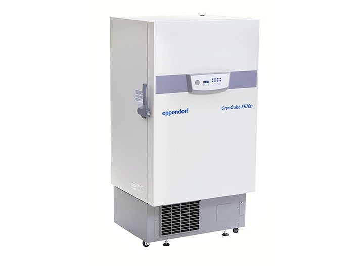 Cryocube F 570h The Eppendorf ultra-low-temperature refrigerators combine high storage capacity with energy savings. The new product line consumes significantly less energy thanks to a new high-performance fan, compressor and condenser.