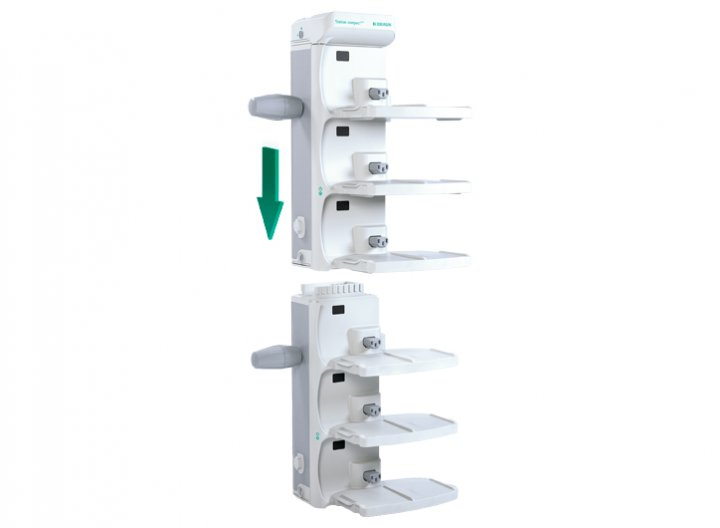 Station Compact Plus Docking station for 1-3 infusion pumps. The tool-free installation of up to 6 stations, in one or two columns, enables easy and fast data communication with a maximum of 18 infusion pumps.