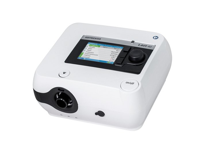 LAVI Respiratory therapy device for intermittent pressure-controlled ventilation.