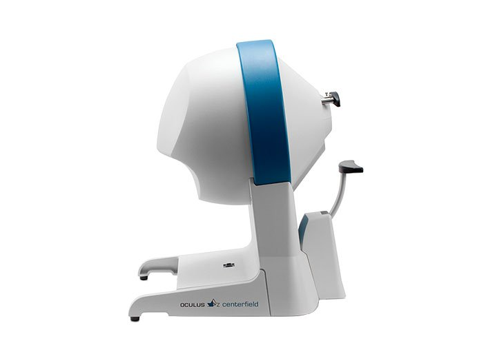 Centerfield Ophthalmologic instrument for perimetry. Easy to use by electrically adjustable chin rest and integrated docking station for a laptop.