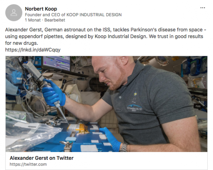 Alexander Gerst, German astronaut on the ISS, tackles Parkinson's disease from space - using eppendorf pipettes, designed by Koop Industrial Design. We trust in good results for new drugs.